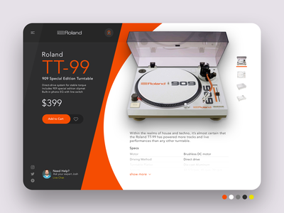 eCommerce - DoD 2019 Challenge 02 dj turntable tt-99 roland tt-99 illustration mobile app mobile app pen tool photoshop sketch illustrator graphics vector ecommerce ui interface user interaction experience