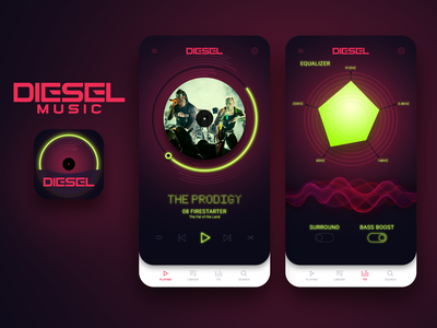 Mobile App - DoD 2019 Challenge 04 diesel rich colors mobile app photoshop sketch illustrator graphics vector ui interface user interaction design mobile app mobile screens mobile ui mobile ux the prodigy music app