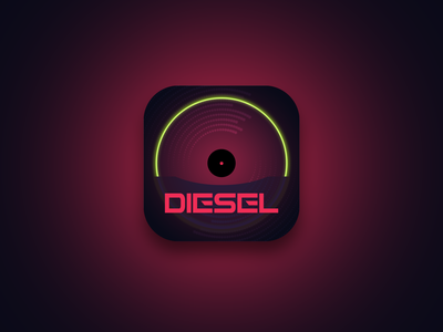 Diesel Music App Icon interaction flat animation app typography ux mobile sketch 3d illustrator logo branding design ui vector illustration music app ui music artwork diesel music app