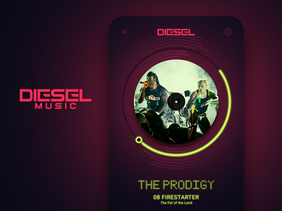 Diesel Music App - Screen 01 interface interaction flat animation web design ux prodigy music art music player logo vector ui branding sketch 3d mobile graphics music app photoshop