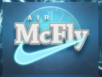 Nike - Air McFly Logo blue leather lighting puffy white air bevel felt mcfly nike shoes swoosh marty