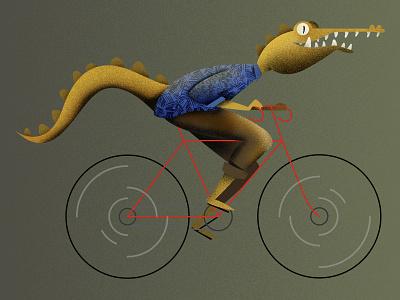 Gator Bike animal texture photoshop florida illustration bicycle bike aligator