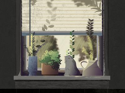 Kitchen Window window sun photoshop succulents spring lighting kitchen plants illustration