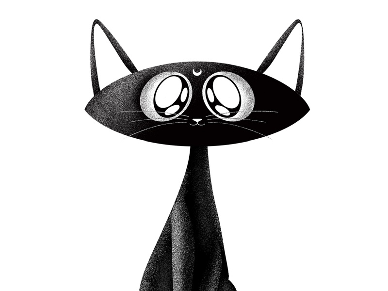 Luna cartoon animal texture illustration black and white anime sailormoon luna cat