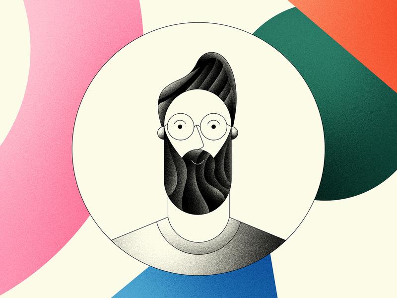 Self Portrait texture photoshop blue orange green pink beard illustration shapes portrait man person