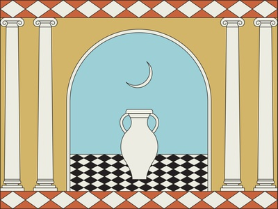 Doorway moon checkers checkered diamonds tile illustration columns doorway arch pattern case