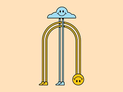 Smiley face retro friends fun cloud smile illustration