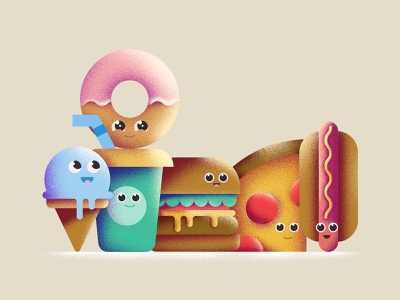 Squad pals donut icecream hotdog pizza happy smile texture illustration burger fast food snacks friends squad food