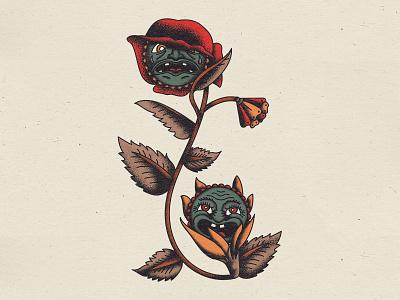 Flower tattoo faces flower texture illustration