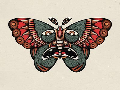 Moth face texture illustration moth traditional tattoo