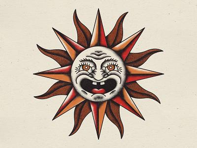 Sun vintage sun face texture illustration traditional tattoo