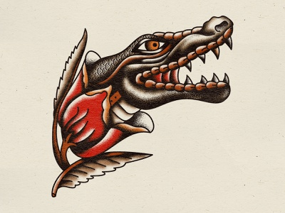 Gator texture illustration florida flower rose swamp gator traditional tattoo