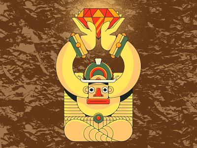 Idol treasure texture illustration ruby jewel gold aztec statue idol