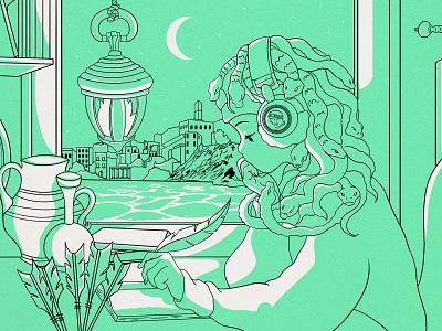 Lo-fi Medusa magic music woman girl anime illustration artifacts mythology greece greek medusa lo-fi
