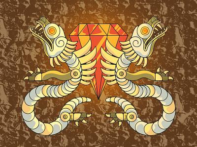 Totem 02 ruby gold statue serpent dragon aztec texture jewel illustration cursed idol totem