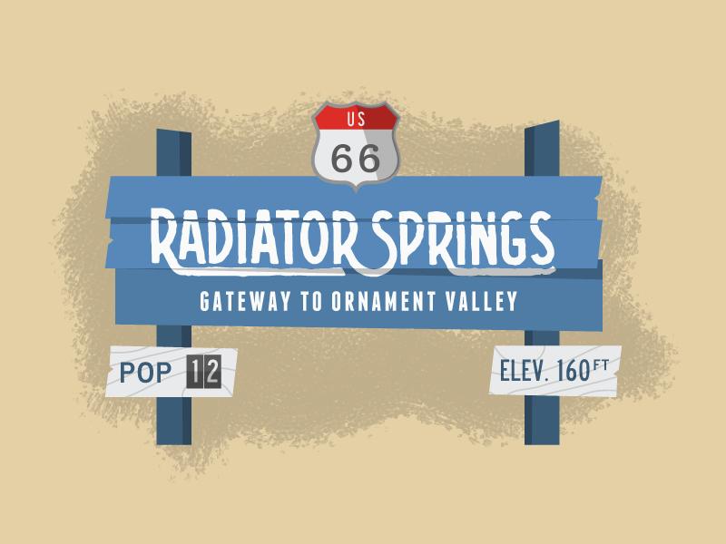 Radiator Springs walt disney disneyland disneyworld snapchat fantasyland tomorrowland illustration sign