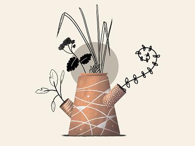 Plants And Pots 04 gardening garden vase flowers leaves plants texture photoshop illustration