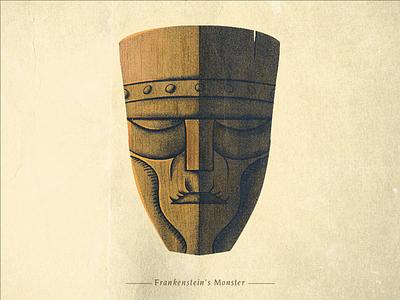 Frankenstein's Monster design spooky horror tiki monster universal classic texture illustration