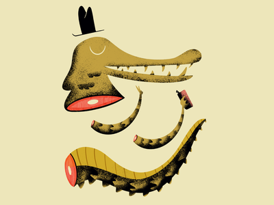 Later Gator gator swamp animal hat beer texture florida alligator illustration