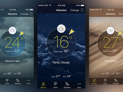 Bahrain Weather cloudy rain sandstorm weather ui ux