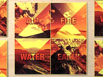 Classical Elements poster classical elements air fire ground water print render vintage pattern earth creosoul graphic