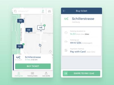 Smart Parking App purchase pin buy swipe map car parking