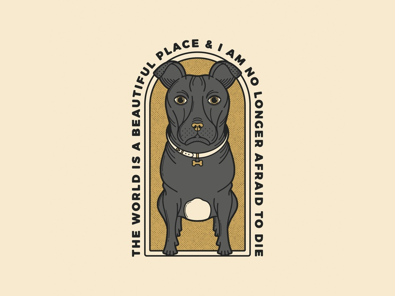 The World Is A Beautiful Place T-Shirt Design emo post rock illustration dogs staffy puppy pup dog merchandise merch band band merchandise band merch t-shirt design t-shirt the world is a beautiful place the world is twiabp