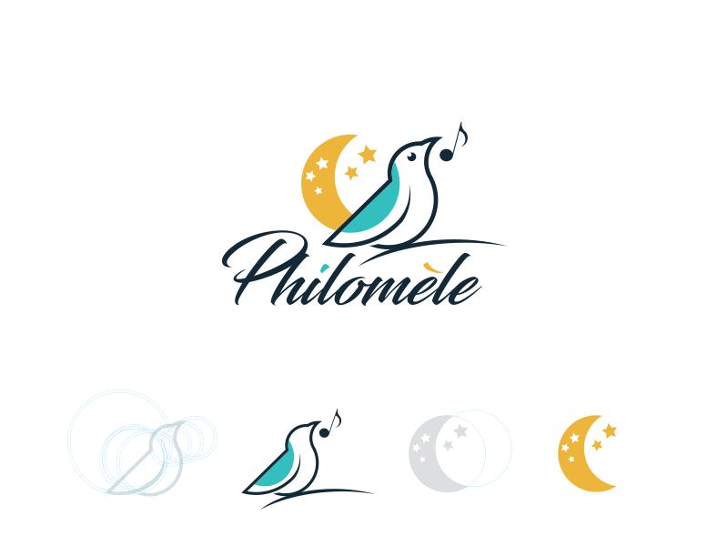 Philomèle logo branding bird flat logo