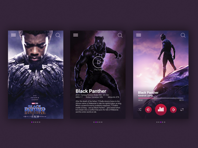 Black Panther-Movie app UI design music player black panther cards ui app movie