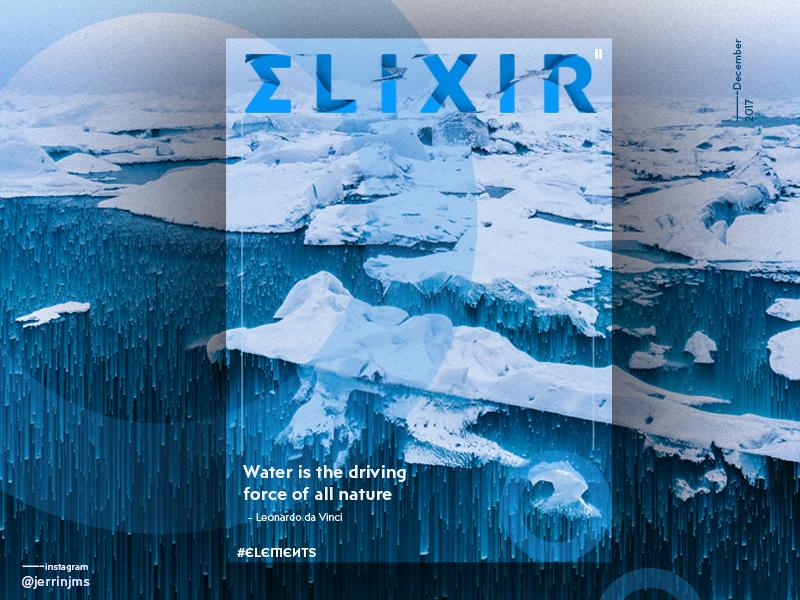 Elixr - Elements poster series (II/IV) circles blue inspirational elements poster pixelsort elixr water