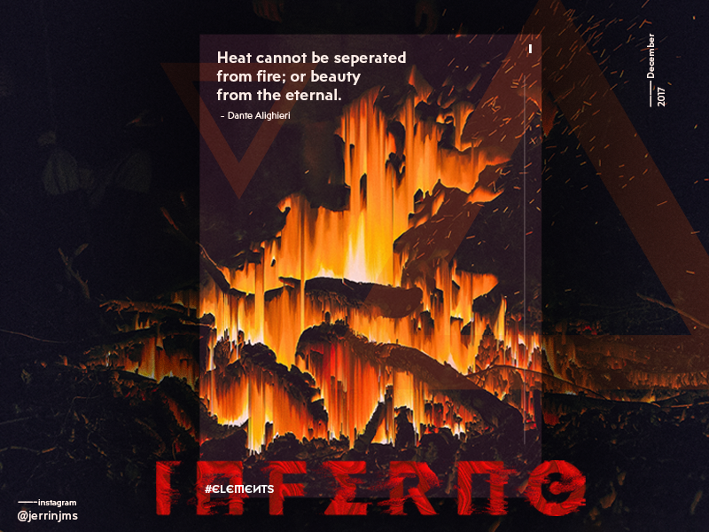 Inferno - Elements poster series (I/IV) pixelsort design quote minimal gradient cover poster elements