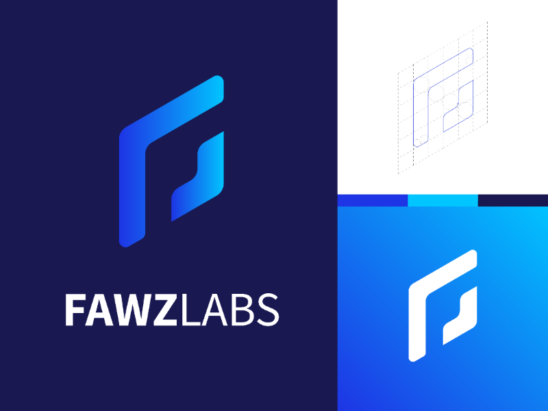 Fawzlabs Logo design blue gradients f logo company brand technology logo design logo