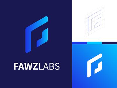 Fawzlabs Logo design blue gradients f logo company brand technology logo design logo
