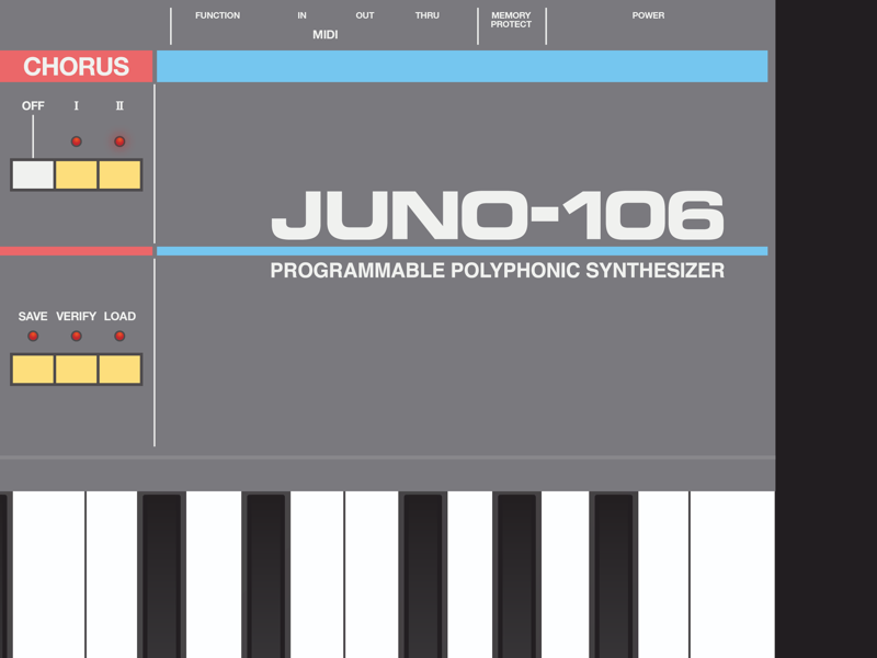 Juno 106 synthesizer analog synth illustrator design illustration