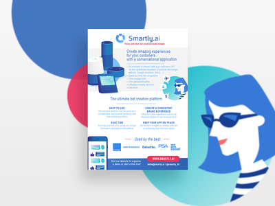 Brochure for Smartly AI smartly application chatbot devices illustration a5 up start brochure flyer