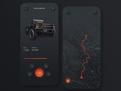 Vehicle Overland App app ui uiux app ux neomorphism ui vehicle app vehicle topographic map topography raptor ford overland