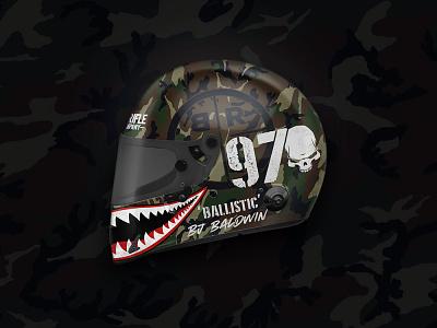 BJ Baldwin Helmet baja rebrand driver helmets racing racer teeth black rifle coffee brcc camouflage camo helmet design helmet trophy truck branding