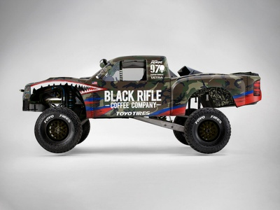 Trophy Truck: BJ Baldwin brand design teeth camo sponsor branding mockup wrap black rifle coffee brcc racing trophy truck