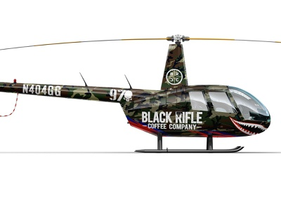 BRCC R44 Helicopter Wrap camo branding design vehicle wrap wrap helo motorsports coffee black rifle brcc helicopter
