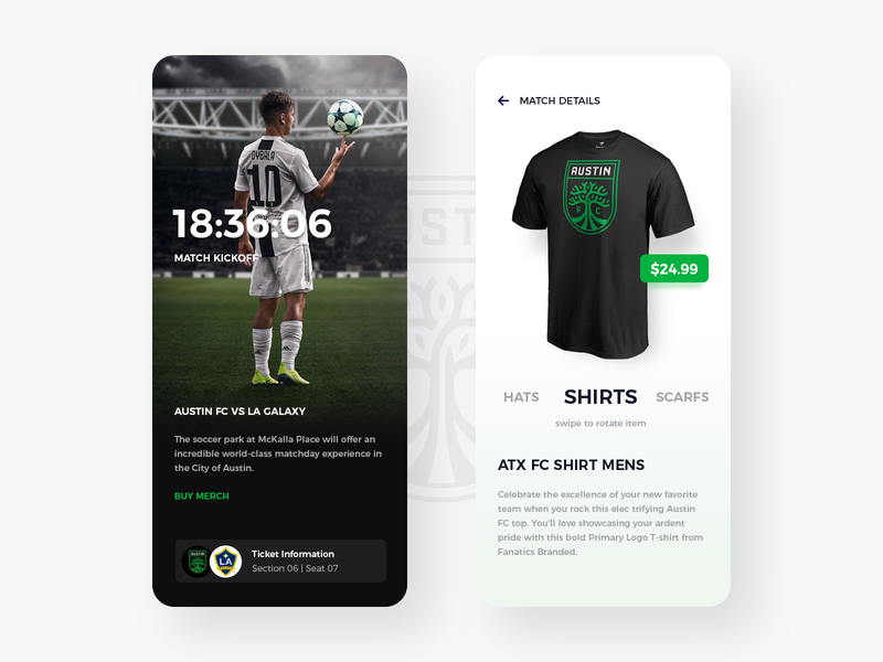 Austin FC Mobile App merch soccer football app app design ux ui austin texas ios austin fc football club austin
