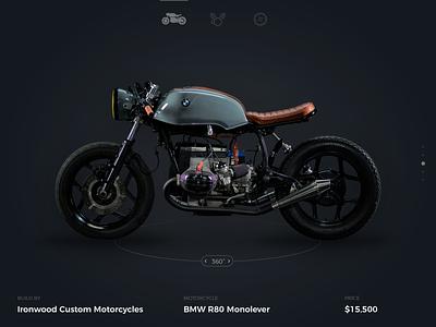 Motorcycle website UI bmw caferacer minimal motorcycle web website ux ui design