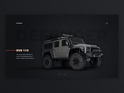 Land Rover SVX 110 website concept defender simple header web design off road vehicle car black land rover ux web ui design website