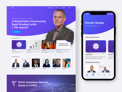 Pitch Investors Live Discovery Page ios app mobile app iphone entrepreneur discovery uiux ui web app responsive design responsive mobile ui blockchain crypto pitch mobile responsive