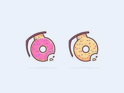 Donut-nade branding vector design illustration donut operator grenade donut