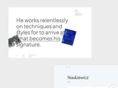 Piotr Staskiewcz Artist Painter website web skew layout motion graphic minimal design