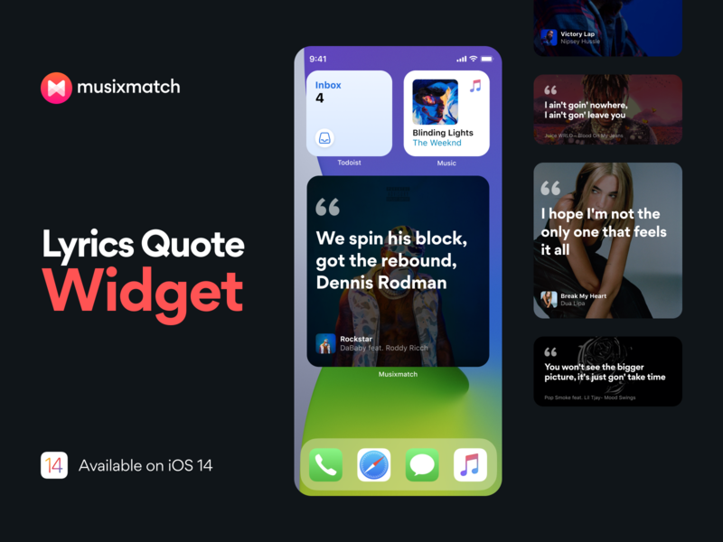 Lyrics Quote Widget 🎵 cover image profile artist player share quote lyrics music widget ios app iphone ios ios14 freebie figma invites