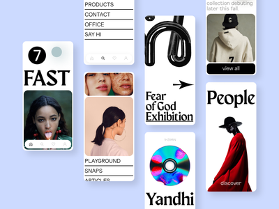 FAST ★ fashion music player lookbook article blog editorial magazine composition photography colors grid design ios app interface mobile phot branding 3d