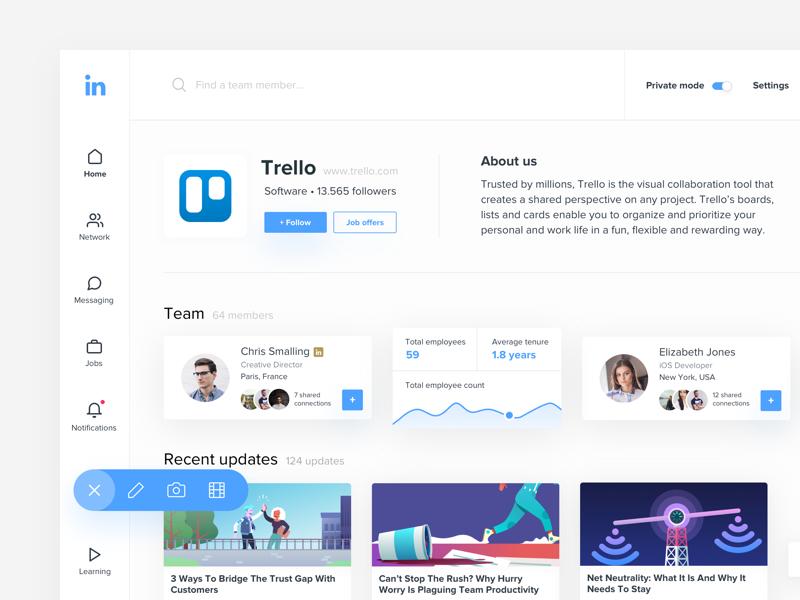 Linkedin Company Page • Redesign + Dribbble Invite