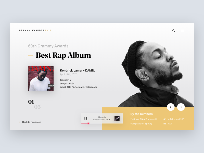 Grammy Awards 🏆 page landing album rap experience web music grammys desktop interface ux ui