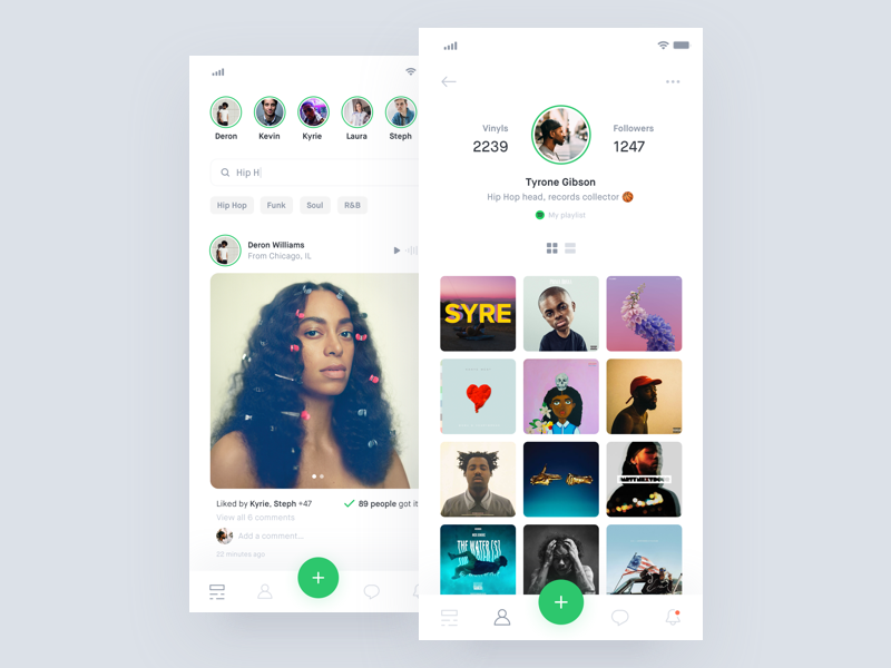 Vinyls 💿 + 2 Dribbble Invites dribbble invite social vinyls app concept interface mobile digital ux ui